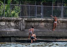 Rzeczny widok ch?opiec bawi? si? przy zatok? Dzieci skacze w wod? fotografia stock