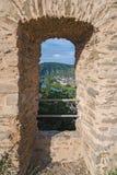Rzeczny widok od okno stary forteca obrazy royalty free