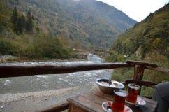 Rzeczny widok z herbatą, Turcja Obrazy Stock