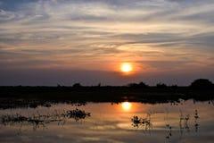 Rzeczny zmierzch w Kambodża podczas lata zdjęcie stock