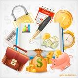 Rzeczy biznes, pieniądze, złociste monety Zdjęcie Stock