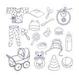 rzeczy i zabawki dla dziecko ikon ustawiać Zdjęcia Royalty Free