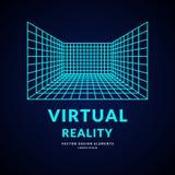 Rzeczywistość Wirtualna i nowe technologie dla gier Pokój z perspektywiczną siatką ilustracja wektor
