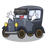Rzeczywistości wirtualnej kreskówki stary samochód w bocznym garażu royalty ilustracja