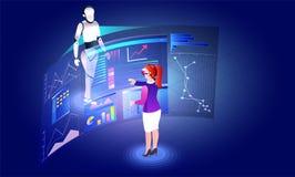 Rzeczywistości wirtualnej pojęcie, dziewczyny analizy dane lub stats humano, fotografia stock