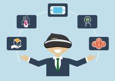 Rzeczywistości wirtualnej pojęcie jako ilustracja biznesowy mężczyzna używa VR słuchawki royalty ilustracja