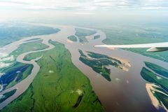 Rzeka Amur od okno samolot obrazy stock