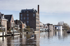 Rzeka blisko Bodegraven w holandiach Obrazy Royalty Free