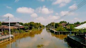 Rzeka Chachoengsao Stary miasteczko w Tajlandia Obraz Stock