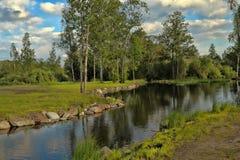 Rzeka i drzewa wzdłuż go Zdjęcie Stock