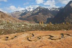 Rzeka jak wąż płynie w Ahrntal Włochy w jesieni Fotografia Royalty Free