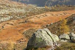 Rzeka jak wąż płynie w Ahrntal Włochy w jesieni Obraz Royalty Free
