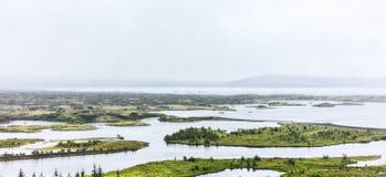 Rzeka krajobraz z wyspami Zdjęcie Stock