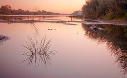 Rzeka minimalizm Gorokhovets Vladimir region Końcówka Wrzesień 2015 Obrazy Stock