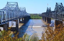 Rzeka Mississippi mosty Obrazy Royalty Free