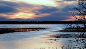 Rzeka Mississippi p?ynie wsch?d z zamarzni?tego Jeziornego Bemidji Minnestoa przy zmierzchem w wczesnej wio?nie zdjęcie wideo