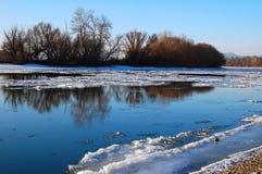 Rzeka na zimie Obraz Royalty Free