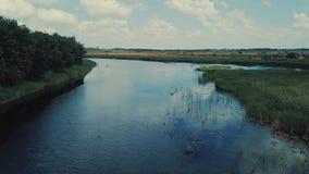 Rzeka odbija białego zieleni pole z zmielonym drogowym widokiem z lotu ptaka i chmury zdjęcie wideo