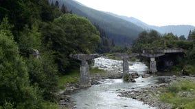 Rzeka płynie nad skałami w ten pięknej scenie w Karpackich górach w lecie zbiory