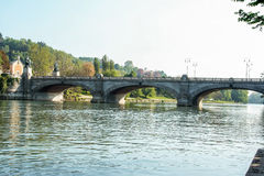 Rzeka Po przy Turyn Obrazy Royalty Free