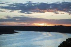 Rzeka Po zmierzchu Zdjęcie Royalty Free