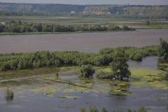 Rzeka przelewał się banki Fotografia Royalty Free