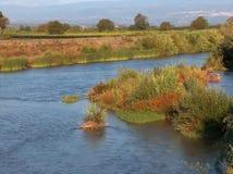 Rzeka przy zmierzchem Obrazy Royalty Free