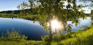 Rzeka ranku krajobrazowa panorama Fotografia Stock