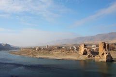 Rzeka Tygrys blisko rabatowy Turcja i Syria Obrazy Stock
