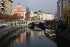 Rzeka w Ljubijana Obraz Stock