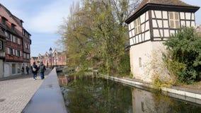 Rzeka w mieście Colmar, Francja zdjęcie wideo