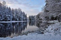 Rzeka w zimie obraz stock