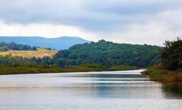 Rzeka z górami i lasami Obraz Royalty Free