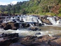 Rzeka z kamieniami i lasem obrazy stock