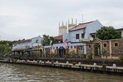 Rzeka z kolonialnymi holendera stylu domami Melaka, Malezja Obrazy Stock