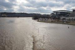 Rzeki Ohio powodzi above scena w w centrum Cincinnati Zdjęcie Royalty Free