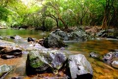 Rzeki w strumieniach które płyną przez skał Fotografia Stock