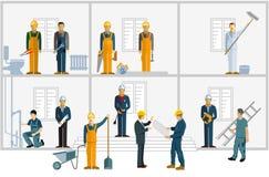 Rzemieślnicy pracuje na budowie ilustracji