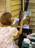 Rzemieślnik Maluje Krajobrazową scenę Obrazy Royalty Free