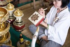 rzemieślnika obrazu złocisty kolor na pamiątkarskim prezenta pudełku Obrazy Royalty Free