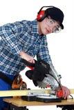 Rzemieślnika tnący drewno Fotografia Stock