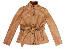 Rzemienna żeńska brown skórzana kurtka Odizolowywający na bielu fotografia stock