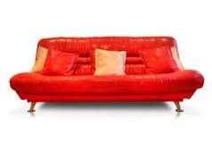 rzemienna czerwona kanapa Zdjęcie Stock