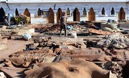 Rzemienna garbarnia w Marrakech, Maroko fotografia stock