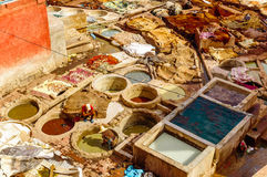 Rzemienna garbarnia w Marrakech, Maroko - fotografia stock