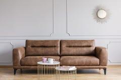 Rzemienna kanapa, stoliki do kawy i lustro w żywym izbowym wnętrzu, zdjęcia royalty free
