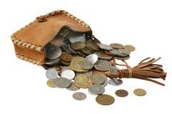Rzemienna kiesa z monetami Fotografia Royalty Free