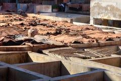 Rzemienna osuszka w tradycyjnej garbarni Marrakech Maroko Obraz Royalty Free
