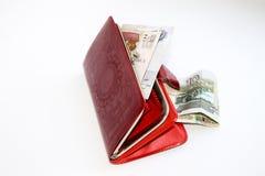 rzemienna pieniądze kiesy czerwień Zdjęcie Stock