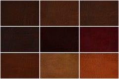 Rzemienna tekstura ustawiająca w kilka cieniach Brown Zdjęcie Stock